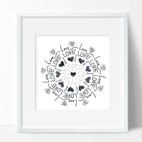 Love mandala framed